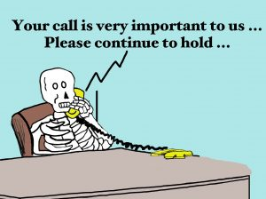 Skeleton waiting (patiently) on phone
